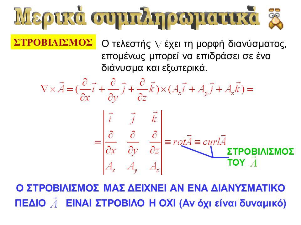 ΣΤΡΟΒΙΛΙΣΜΟΣ Ο τελεστής έχει τη μορφή διανύσματος, επομένως μπορεί να επιδράσει σε ένα διάνυσμα και εξωτερικά. ΣΤΡΟΒΙΛΙΣΜΟΣ ΤΟΥ Ο ΣΤΡΟΒΙΛΙΣΜΟΣ ΜΑΣ ΔΕΙ