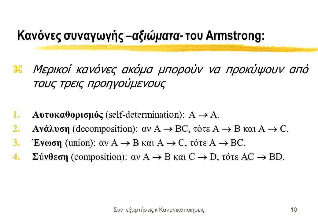 Συν. εξαρτήσεις κ Κανονικοποιήσεις10 Κανόνες συναγωγής – αξιώματα- του Armstrong: z Μερικοί κανόνες ακόμα μπορούν να προκύψουν από τους τρεις προηγούμ