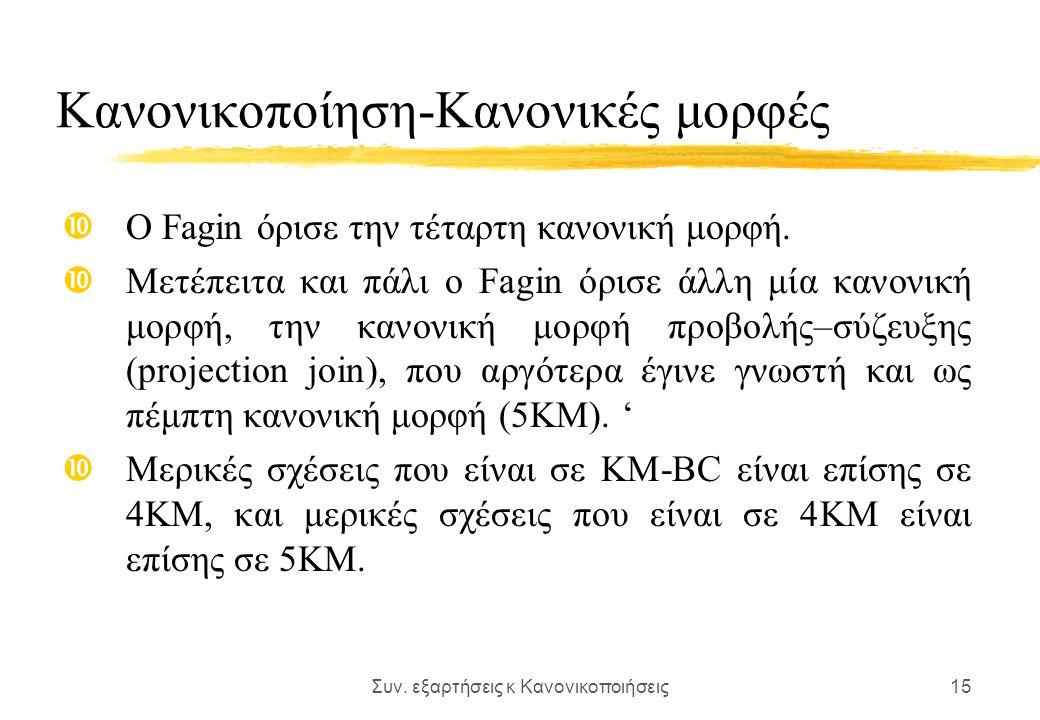 Συν. εξαρτήσεις κ Κανονικοποιήσεις15 Κανονικοποίηση-Κανονικές μορφές Ο Fagin όρισε την τέταρτη κανονική μορφή. Μετέπειτα και πάλι ο Fagin όρισε άλλη μ