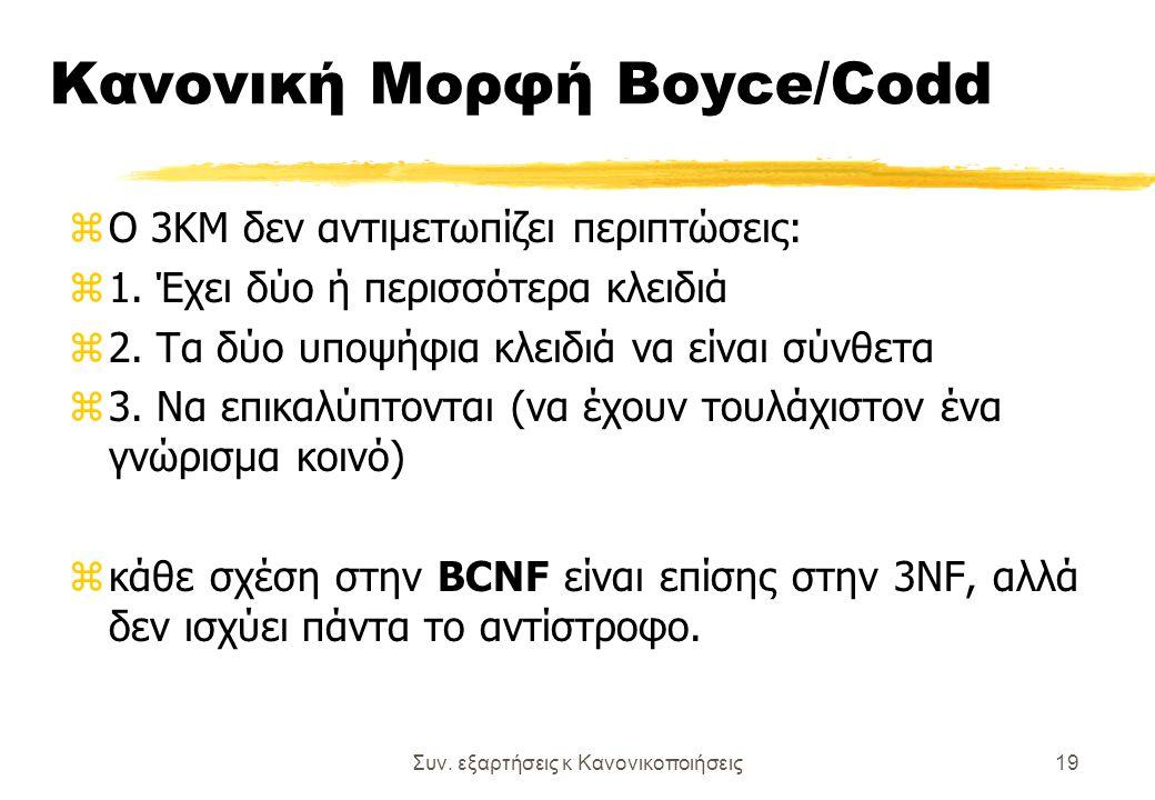 Συν. εξαρτήσεις κ Κανονικοποιήσεις19 Κανονική Μορφή Boyce/Codd zΟ 3ΚΜ δεν αντιμετωπίζει περιπτώσεις: z1. Έχει δύο ή περισσότερα κλειδιά z2. Τα δύο υπο