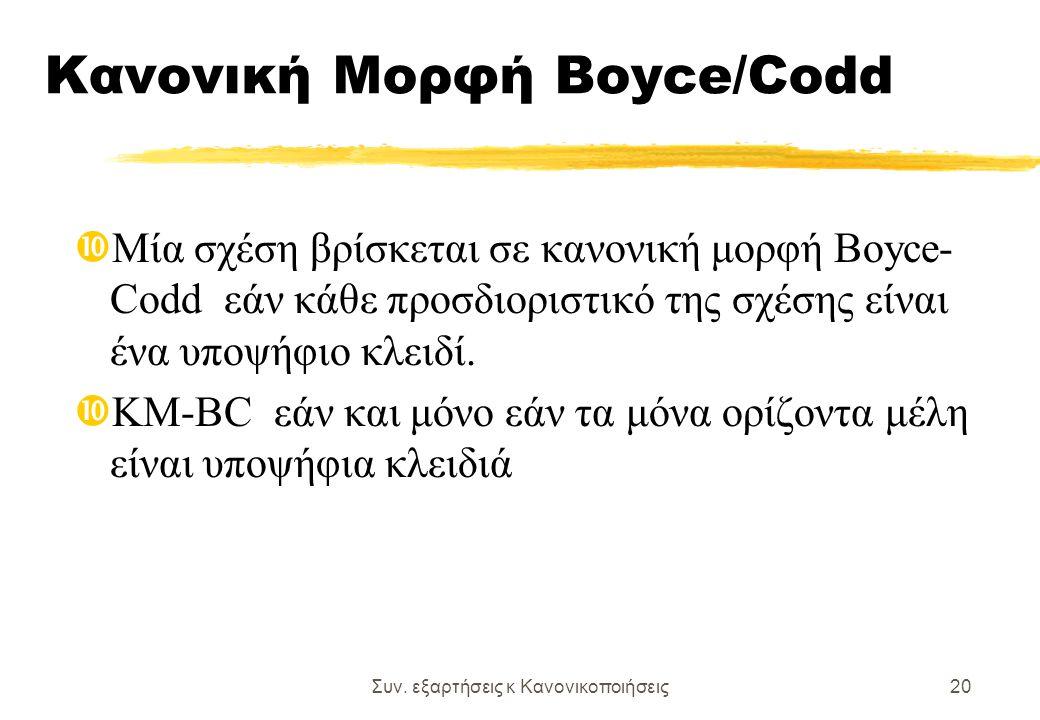 Συν. εξαρτήσεις κ Κανονικοποιήσεις20 Κανονική Μορφή Boyce/Codd Μία σχέση βρίσκεται σε κανονική μορφή Boyce- Codd εάν κάθε προσδιοριστικό της σχέσης εί