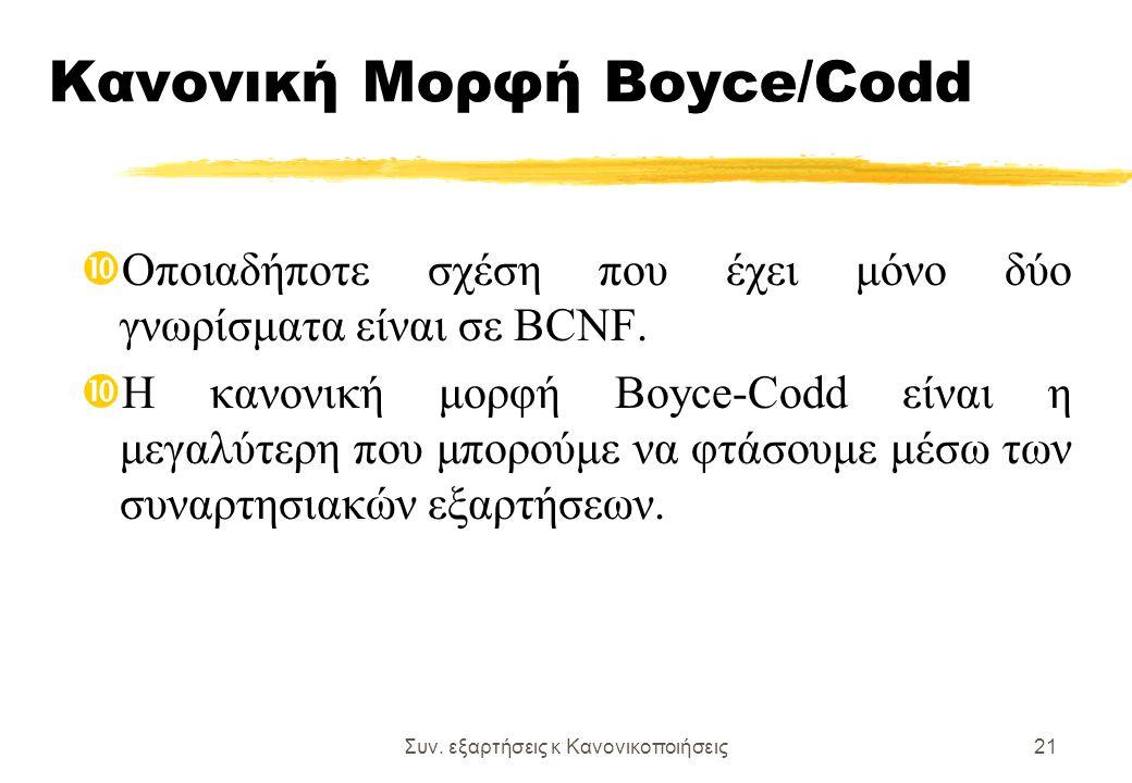 Συν. εξαρτήσεις κ Κανονικοποιήσεις21 Κανονική Μορφή Boyce/Codd Οποιαδήποτε σχέση που έχει μόνο δύο γνωρίσματα είναι σε BCNF. Η κανονική μορφή Boyce-Co