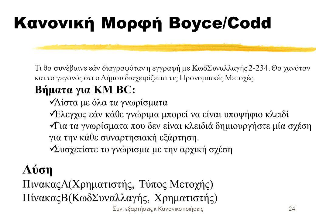 Συν. εξαρτήσεις κ Κανονικοποιήσεις24 Κανονική Μορφή Boyce/Codd Λύση ΠινακαςΑ(Χρηματιστής, Τύπος Μετοχής) ΠίνακαςΒ(ΚωδΣυναλλαγής, Χρηματιστής) Τι θα συ