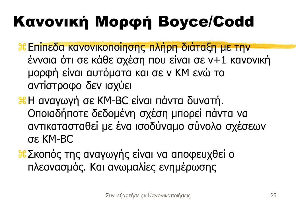 Συν. εξαρτήσεις κ Κανονικοποιήσεις25 Κανονική Μορφή Boyce/Codd zΕπίπεδα κανονικοποίησης πλήρη διάταξη με την έννοια ότι σε κάθε σχέση που είναι σε ν+1