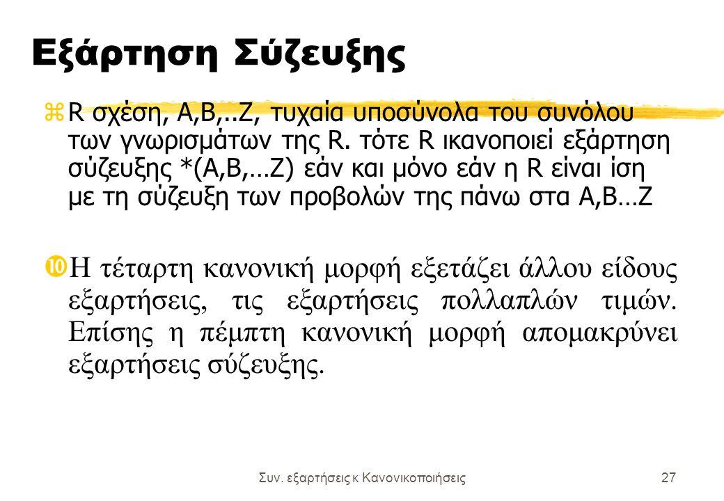 Συν. εξαρτήσεις κ Κανονικοποιήσεις27 Εξάρτηση Σύζευξης zR σχέση, Α,Β,..Ζ, τυχαία υποσύνολα του συνόλου των γνωρισμάτων της R. τότε R ικανοποιεί εξάρτη
