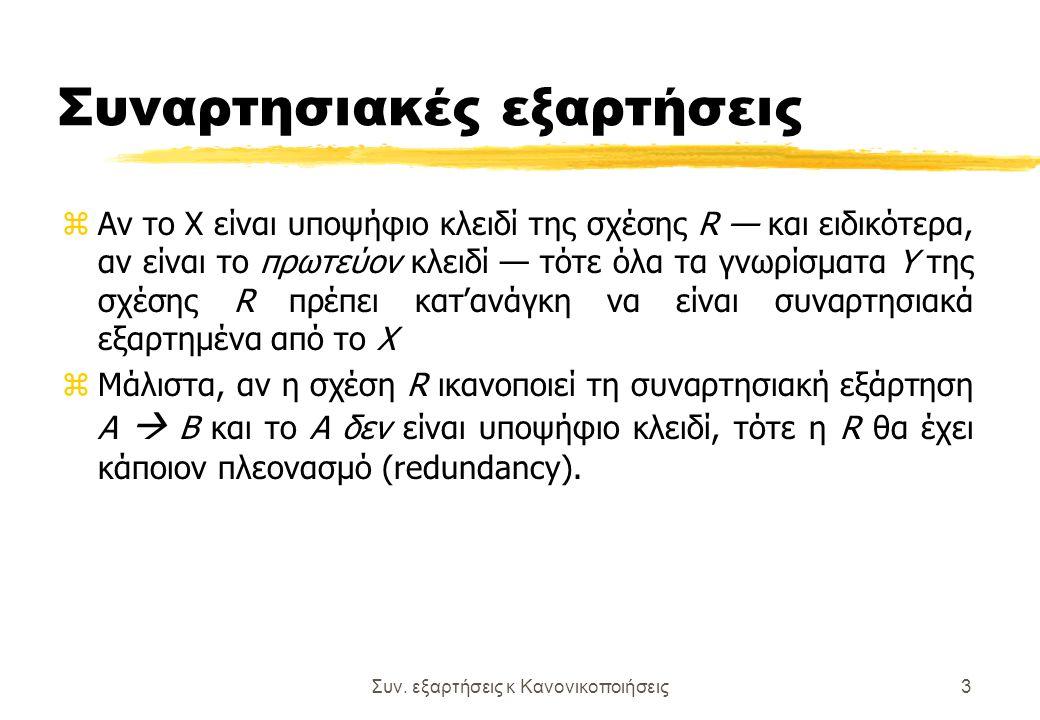 Συν. εξαρτήσεις κ Κανονικοποιήσεις3 Συναρτησιακές εξαρτήσεις zΑν το Χ είναι υποψήφιο κλειδί της σχέσης R — και ειδικότερα, αν είναι το πρωτεύον κλειδί