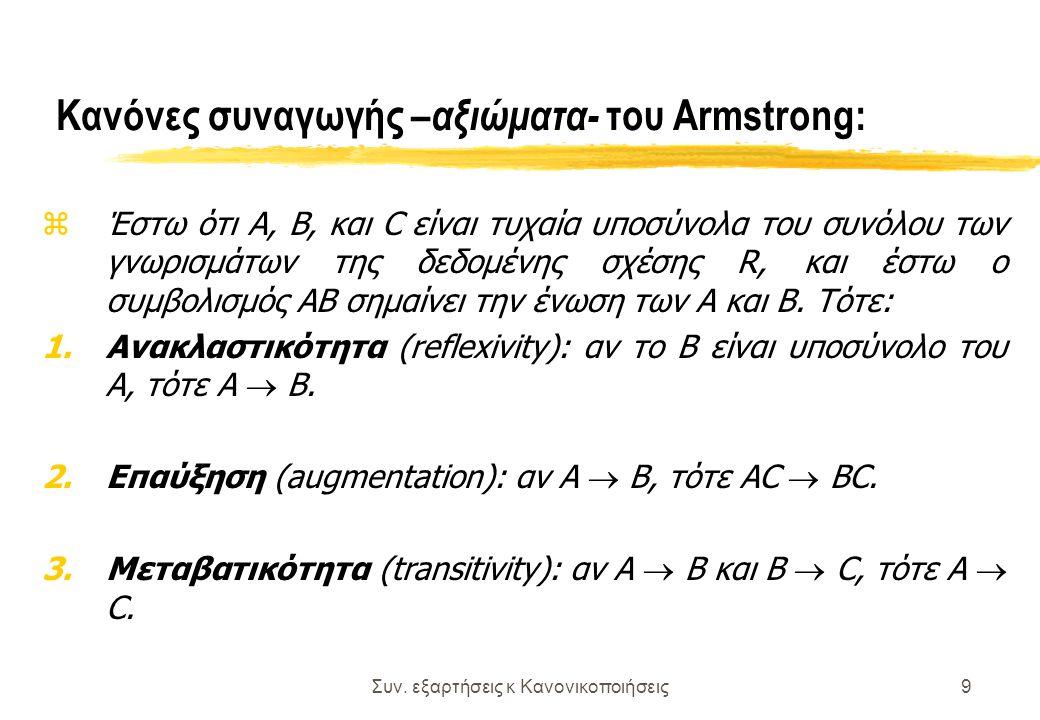 Συν. εξαρτήσεις κ Κανονικοποιήσεις9 Κανόνες συναγωγής – αξιώματα- του Armstrong: zΈστω ότι Α, Β, και C είναι τυχαία υποσύνολα του συνόλου των γνωρισμά