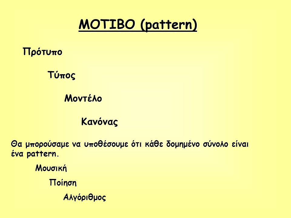 ΜΟΤΙΒΟ (pattern) Πρότυπο Τύπος Τύπος Μοντέλο Μοντέλο Κανόνας Κανόνας Θα μπορούσαμε να υποθέσουμε ότι κάθε δομημένο σύνολο είναι ένα pattern. Μουσική Μ