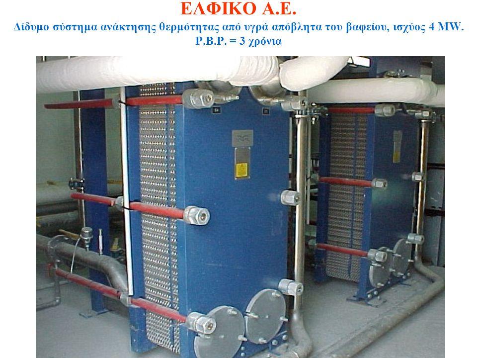 ΕΛΦΙΚΟ Α.Ε.Δίδυμο σύστημα ανάκτησης θερμότητας από υγρά απόβλητα του βαφείου, ισχύος 4 MW.