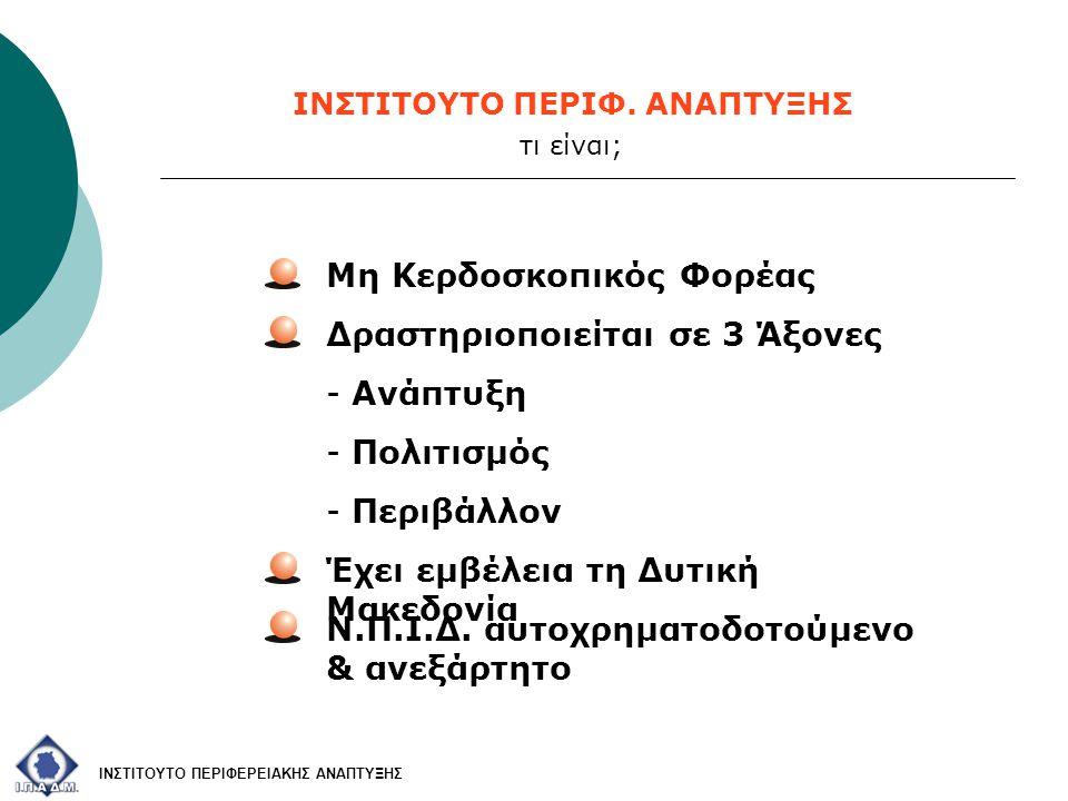 Μη Κερδοσκοπικός Φορέας Δραστηριοποιείται σε 3 Άξονες - Ανάπτυξη - Πολιτισμός - Περιβάλλον Έχει εμβέλεια τη Δυτική Μακεδονία Ν.Π.Ι.Δ. αυτοχρηματοδοτού