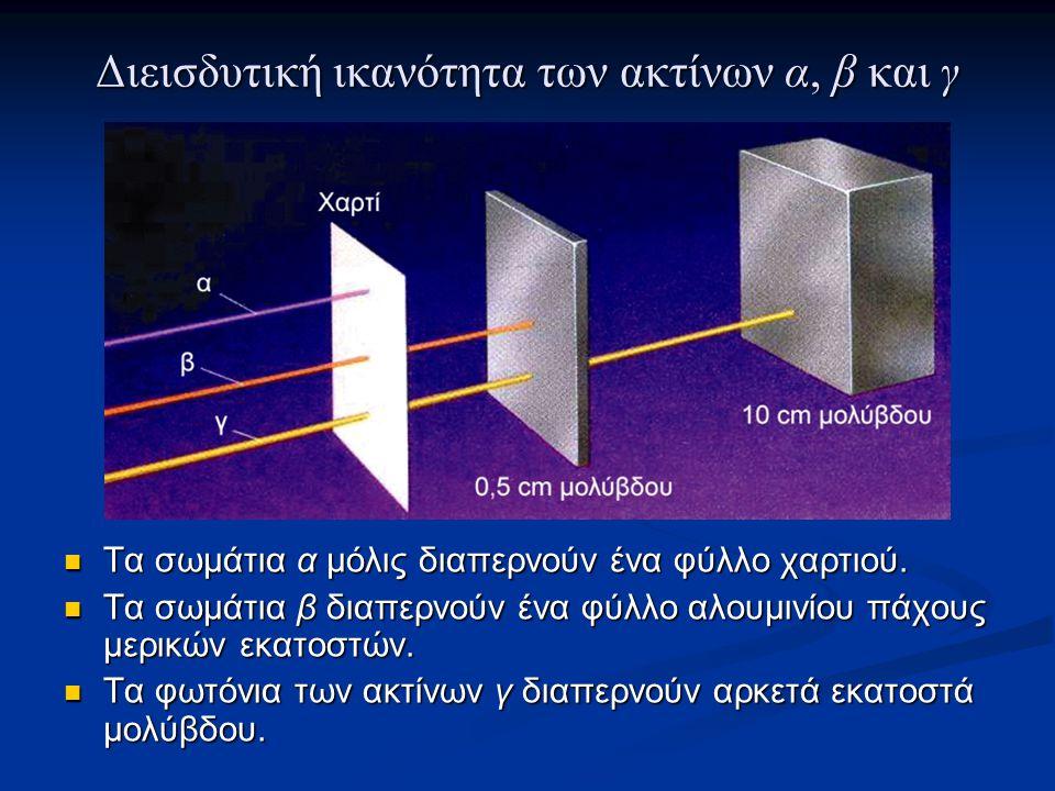 Διεισδυτική ικανότητα των ακτίνων α, β και γ Τα σωμάτια α μόλις διαπερνούν ένα φύλλο χαρτιού. Τα σωμάτια α μόλις διαπερνούν ένα φύλλο χαρτιού. Τα σωμά