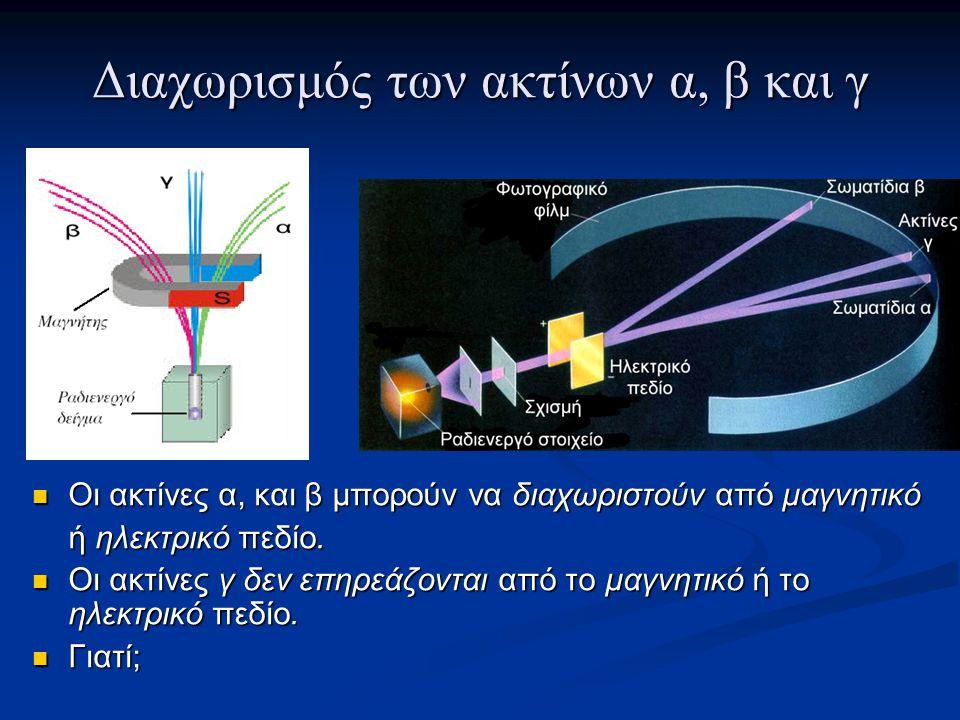 Διαχωρισμός των ακτίνων α, β και γ Οι ακτίνες α, και β μπορούν να διαχωριστούν από μαγνητικό Οι ακτίνες α, και β μπορούν να διαχωριστούν από μαγνητικό ή ηλεκτρικό πεδίο.