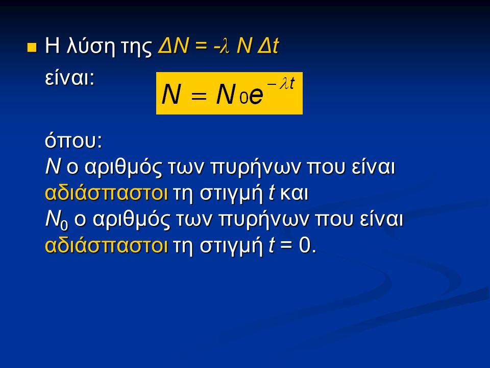 Η λύση της ΔΝ = - λ Ν Δt Η λύση της ΔΝ = - λ Ν Δtείναι: όπου: Ν ο αριθμός των πυρήνων που είναι αδιάσπαστοι τη στιγμή t και Ν 0 ο αριθμός των πυρήνων που είναι αδιάσπαστοι τη στιγμή t = 0.
