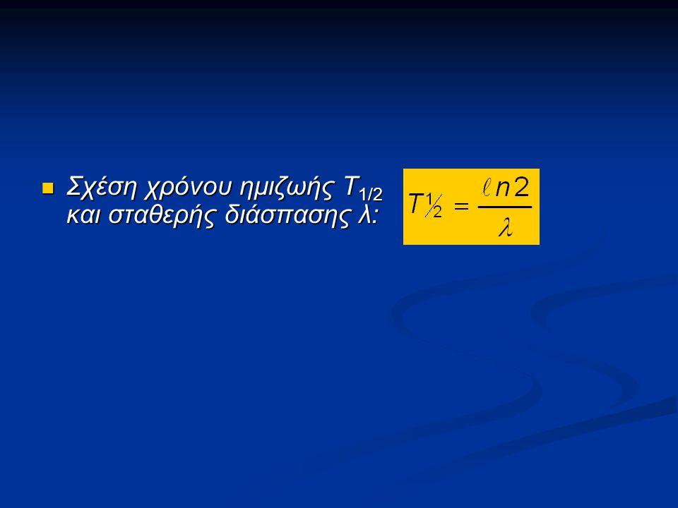 Σχέση χρόνου ημιζωής Τ 1/2 και σταθερής διάσπασης λ: Σχέση χρόνου ημιζωής Τ 1/2 και σταθερής διάσπασης λ: