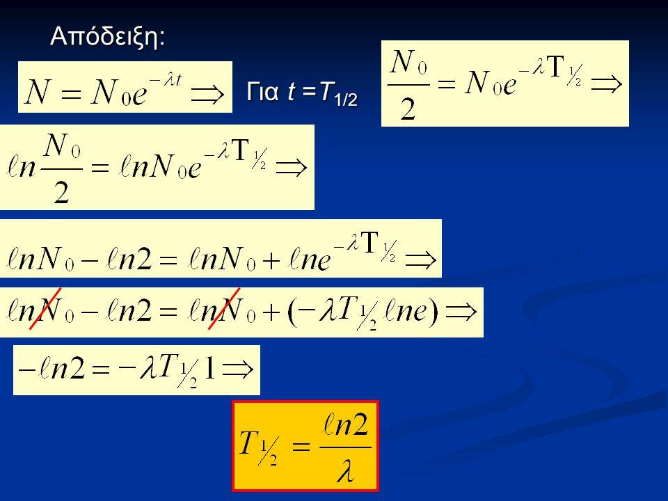 Απόδειξη: Για t =Τ 1/2