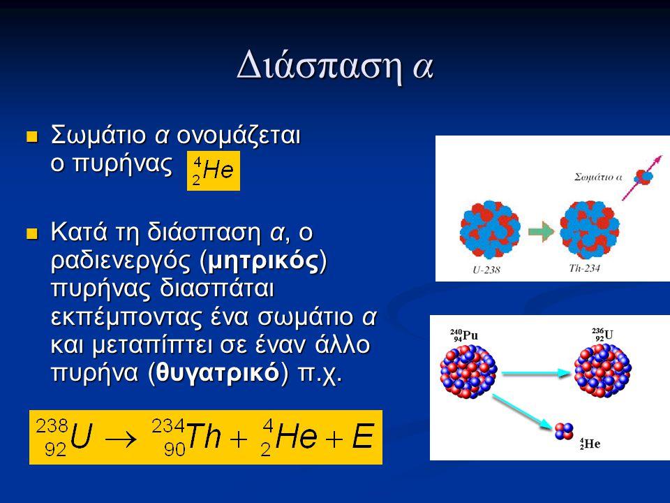 Διάσπαση α Σωμάτιο α ονομάζεται ο πυρήνας Σωμάτιο α ονομάζεται ο πυρήνας Κατά τη διάσπαση α, ο ραδιενεργός (μητρικός) πυρήνας διασπάται εκπέμποντας ένα σωμάτιο α και μεταπίπτει σε έναν άλλο πυρήνα (θυγατρικό) π.χ.