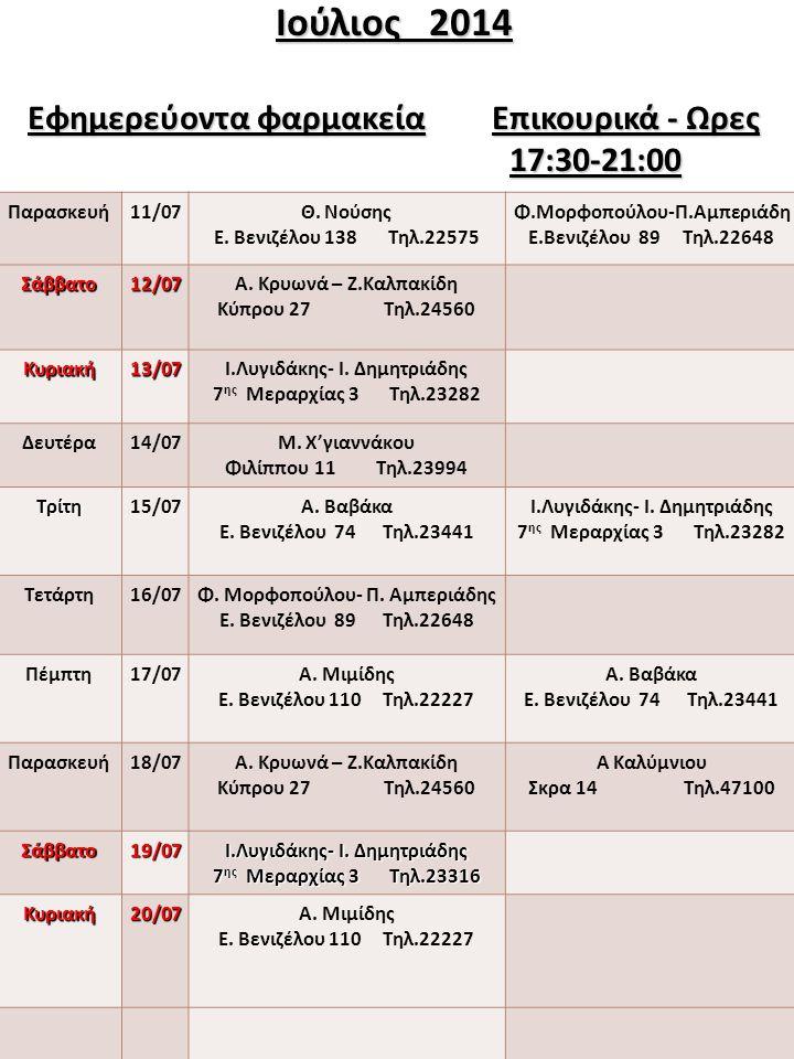 Ιούλιος 2014 Εφημερεύοντα φαρμακεία Επικουρικά - Ωρες 17:30-21:00 Παρασκευή11/07Θ. Νούσης Ε. Βενιζέλου 138 Τηλ.22575 Φ.Μορφοπούλου-Π.Αμπεριάδη Ε.Βενιζ