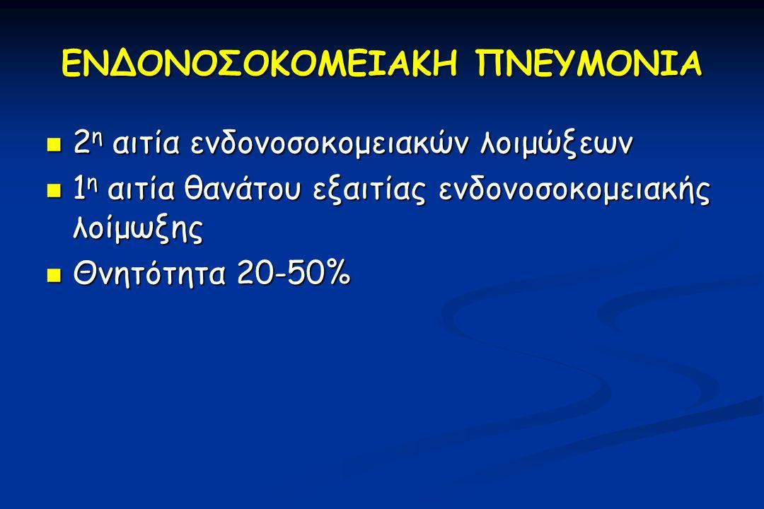 ΕΝΔΟΝΟΣΟΚΟΜΕΙΑΚΗ ΠΝΕΥΜΟΝΙΑ 2 η αιτία ενδονοσοκομειακών λοιμώξεων 2 η αιτία ενδονοσοκομειακών λοιμώξεων 1 η αιτία θανάτου εξαιτίας ενδονοσοκομειακής λοίμωξης 1 η αιτία θανάτου εξαιτίας ενδονοσοκομειακής λοίμωξης Θνητότητα 20-50% Θνητότητα 20-50%