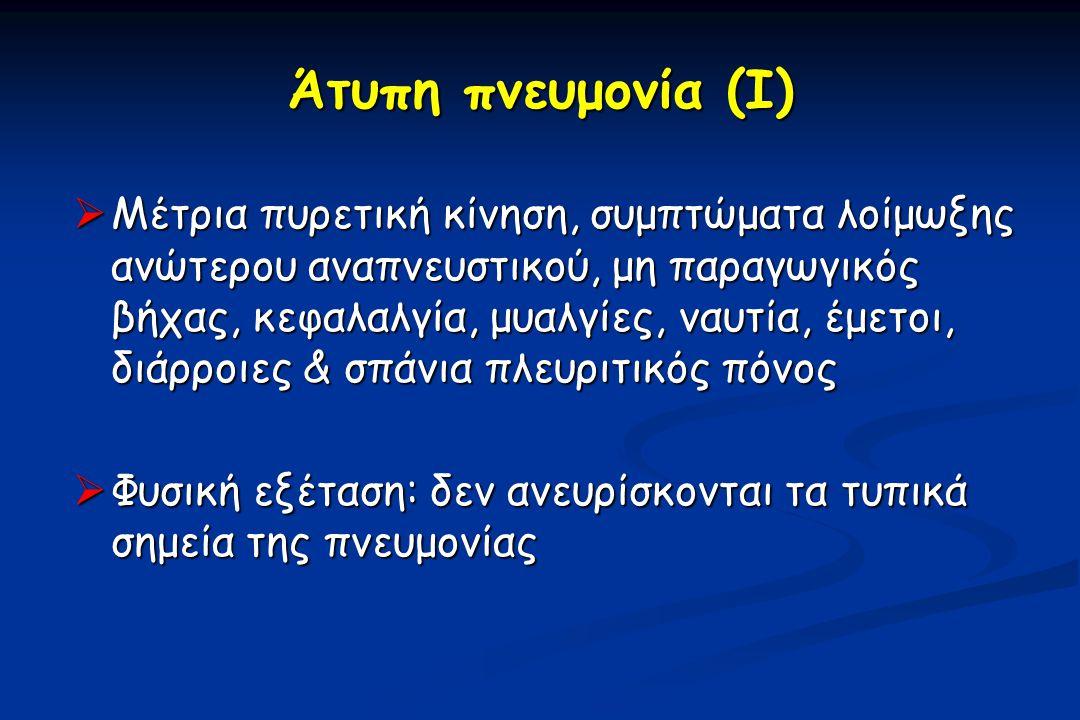 Θεραπεία στη ΜΕΘ  Κεφτριαξόνη ή κεφοταξίμη ή αμπικιλλίνη / σουλμπακτάμη ή πιπερακιλλίνη / ταζομπακτάμη + μακρολίδιο ή αντιπνευμονιοκοκκική κινολόνη  Αλλεργία στις β-λακτάμες: Αντιπνευμονιοκοκκική κινολόνη + κλινδαμυκίνη