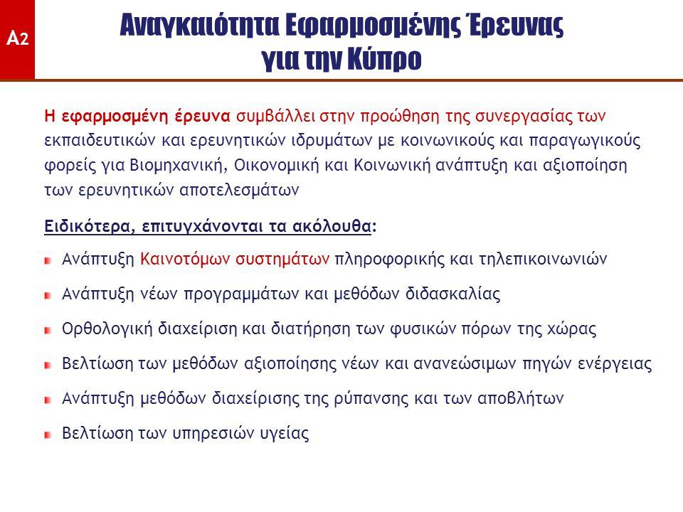 Αναγκαιότητα Εφαρμοσμένης Έρευνας για την Κύπρο Η εφαρμοσμένη έρευνα συμβάλλει στην προώθηση της συνεργασίας των εκπαιδευτικών και ερευνητικών ιδρυμάτων με κοινωνικούς και παραγωγικούς φορείς για Βιομηχανική, Οικονομική και Κοινωνική ανάπτυξη και αξιοποίηση των ερευνητικών αποτελεσμάτων Ειδικότερα, επιτυγχάνονται τα ακόλουθα: Ανάπτυξη Καινοτόμων συστημάτων πληροφορικής και τηλεπικοινωνιών Ανάπτυξη νέων προγραμμάτων και μεθόδων διδασκαλίας Ορθολογική διαχείριση και διατήρηση των φυσικών πόρων της χώρας Βελτίωση των μεθόδων αξιοποίησης νέων και ανανεώσιμων πηγών ενέργειας Ανάπτυξη μεθόδων διαχείρισης της ρύπανσης και των αποβλήτων Βελτίωση των υπηρεσιών υγείας Α2Α2