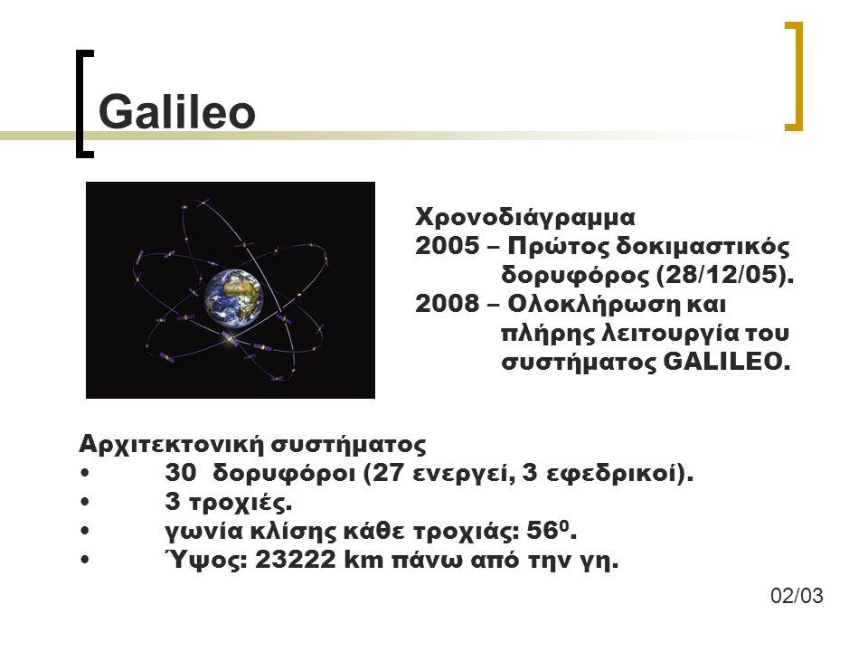 Galileo Βασικά χαρακτηριστικά του είναι: Η εξαιρετική ακρίβεια, Η εγγύηση καλής λειτουργίας Ο έλεγχος και η διαχείριση του από μη στρατιωτικές υπηρεσίες Η συμβατότητα του με το GPS and το GLONASS.