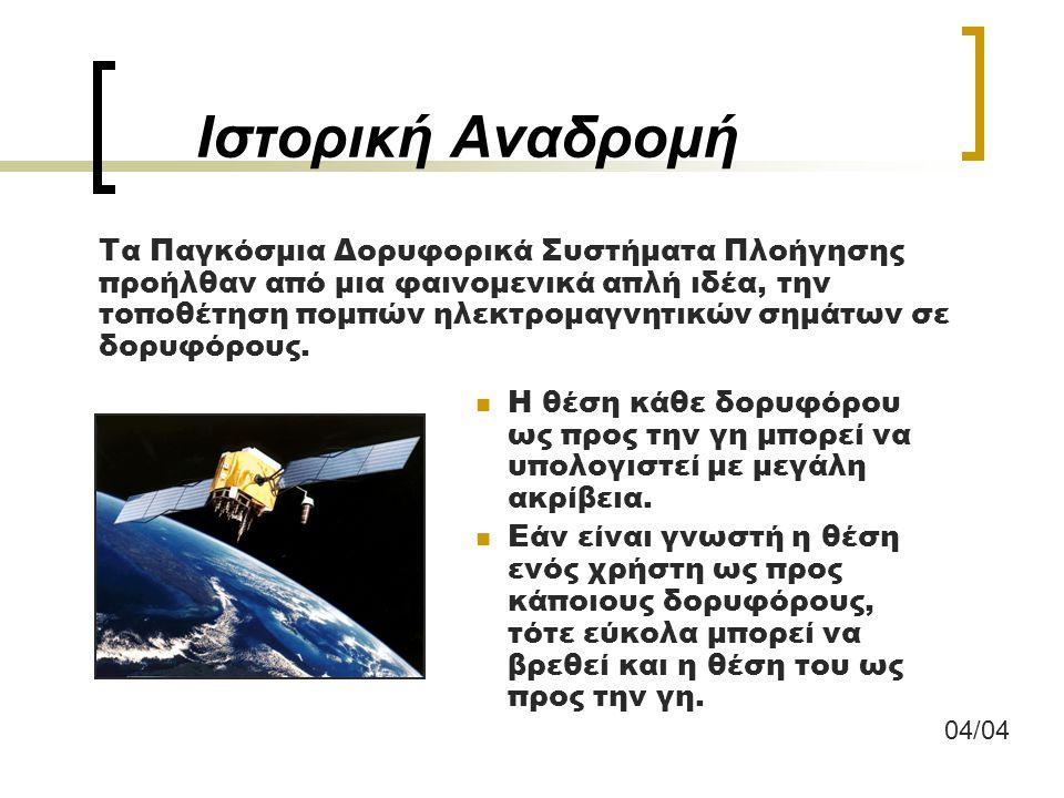 Το σήμα GPS - Σφάλματα Ρολόι δορυφόρου (10 -9 sec -> 30cm σφάλμα) Ρολόι δέκτη (1 sec -> 300.000m σφάλμα) Επιλεκτική διαθεσιμότητα (Selective availability) – Έχει καταργηθεί Εφημερίδα δορυφόρου Ατμόσφαιρα:Τροπόσφαιρα (0-15km) Ιονόσφαιρα (60-200km) Multipath (Σφάλμα πολλαπλών διαδρομών ) Σφάλματα δέκτη, Αντένας, κλπ.