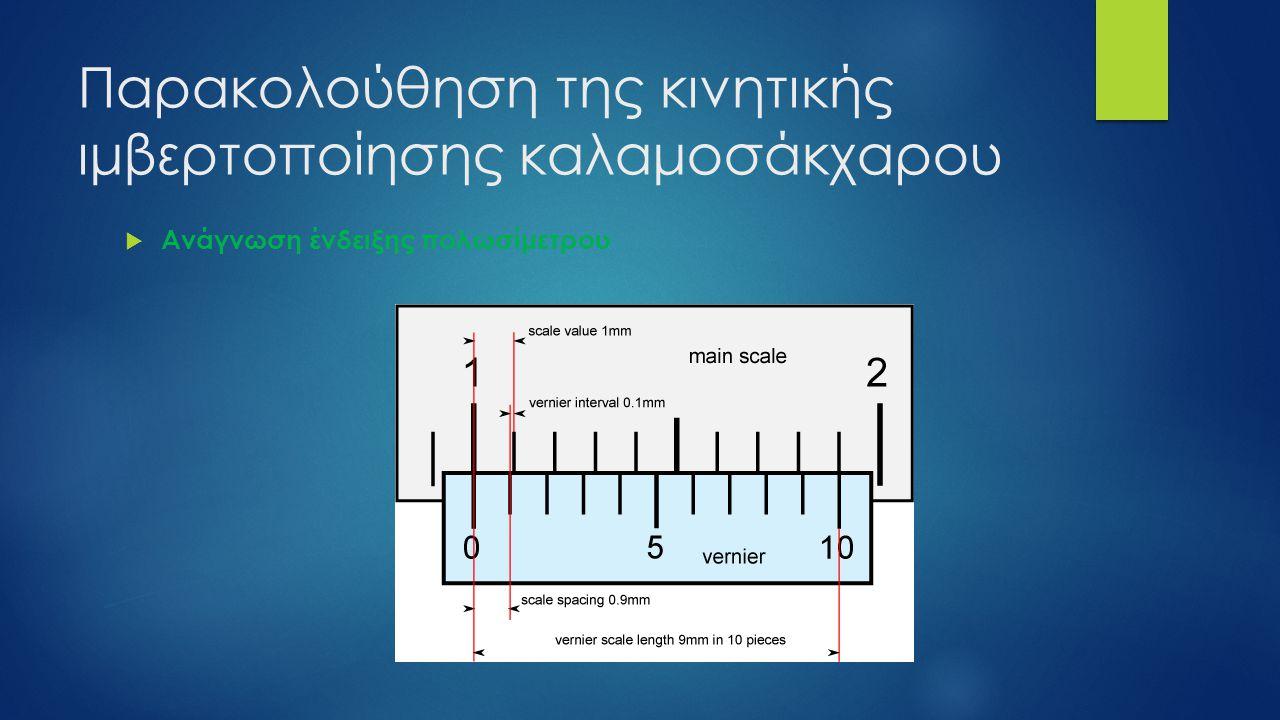 Παρακολούθηση της κινητικής ιμβερτοποίησης καλαμοσάκχαρου  Ανάγνωση ένδειξης πολωσίμετρου