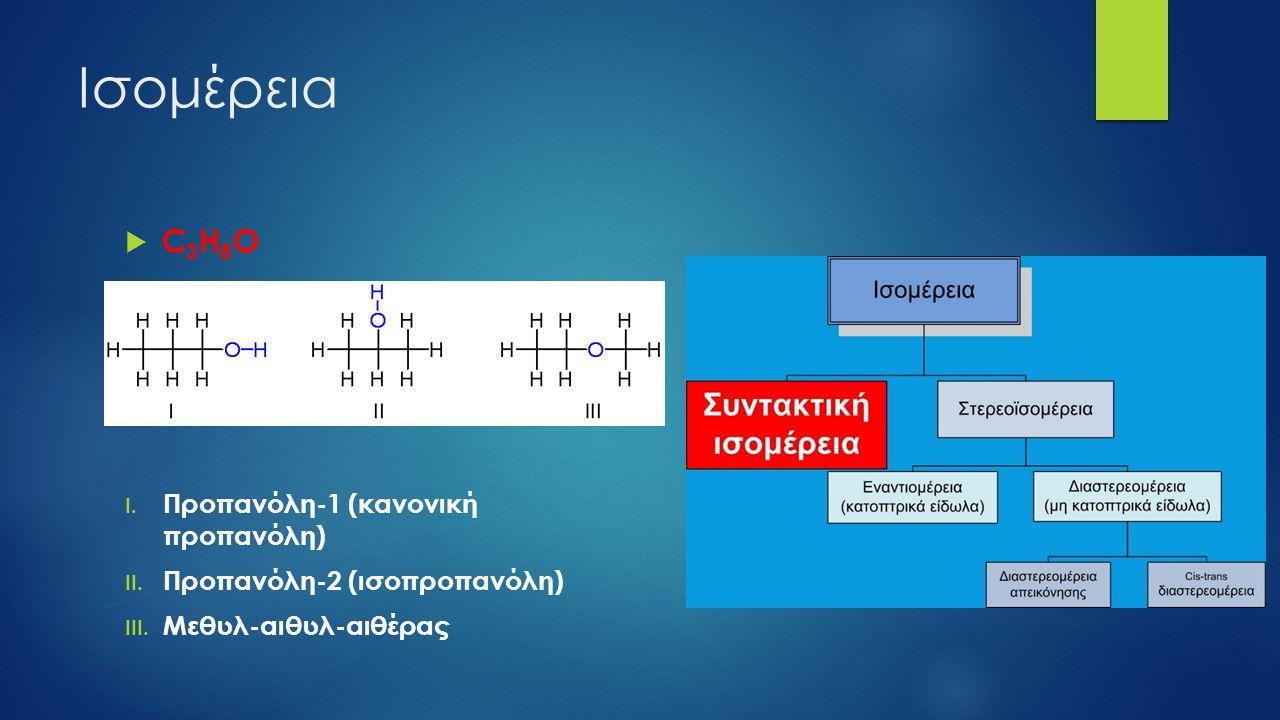 Ισομέρεια  C 3 H 8 O I. Προπανόλη-1 (κανονική προπανόλη) II. Προπανόλη-2 (ισοπροπανόλη) III. Μεθυλ-αιθυλ-αιθέρας
