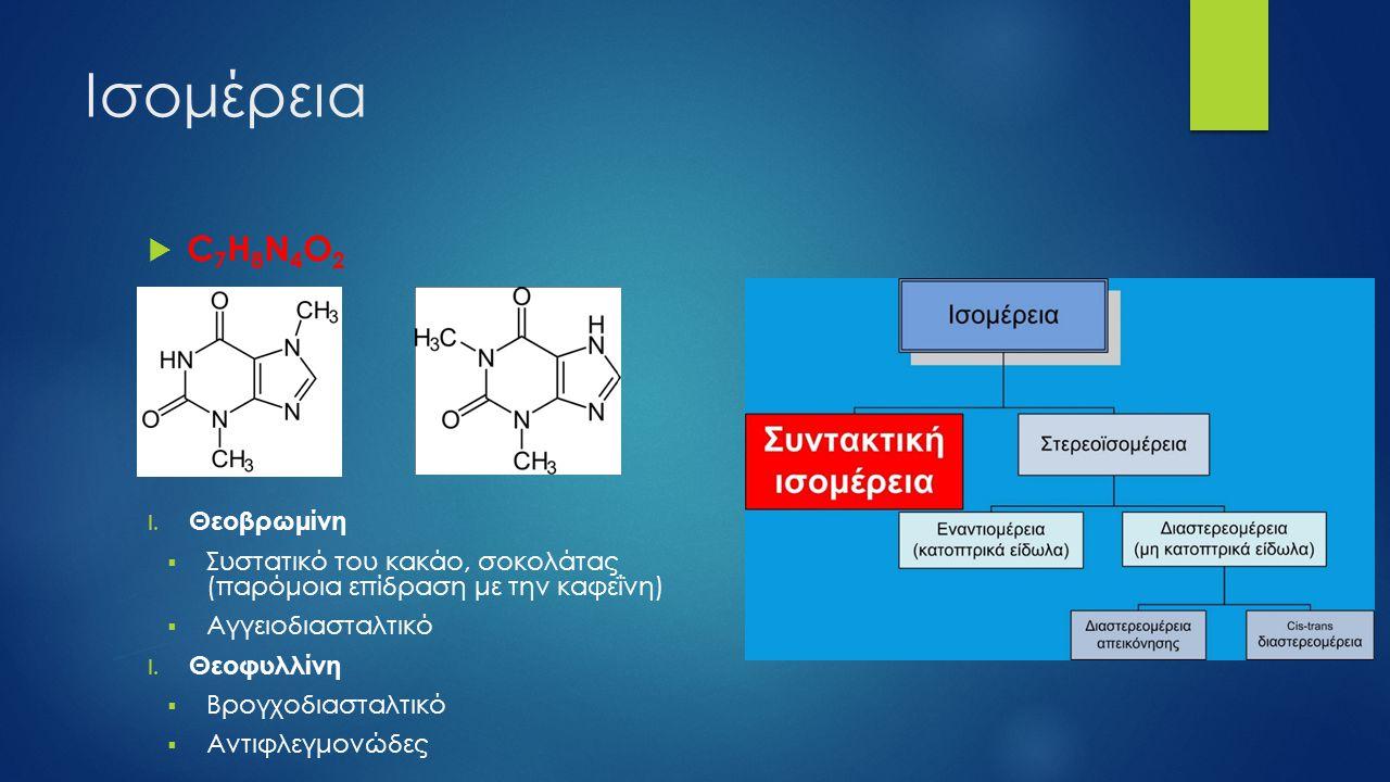 Ισομέρεια  C 7 H 8 N 4 O 2 I. Θεοβρωμίνη  Συστατικό του κακάο, σοκολάτας (παρόμοια επίδραση με την καφεΐνη)  Αγγειοδιασταλτικό I. Θεοφυλλίνη  Βρογ