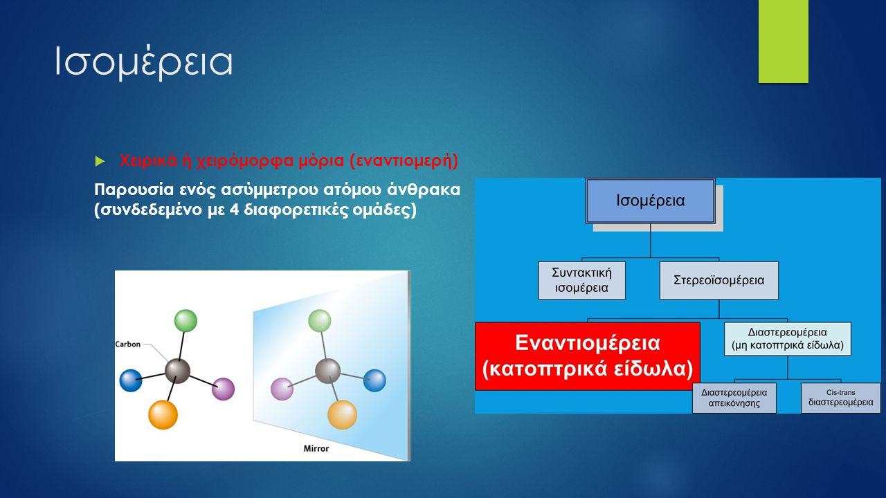 Ισομέρεια  Χειρικά ή χειρόμορφα μόρια (εναντιομερή) Παρουσία ενός ασύμμετρου ατόμου άνθρακα (συνδεδεμένο με 4 διαφορετικές ομάδες)