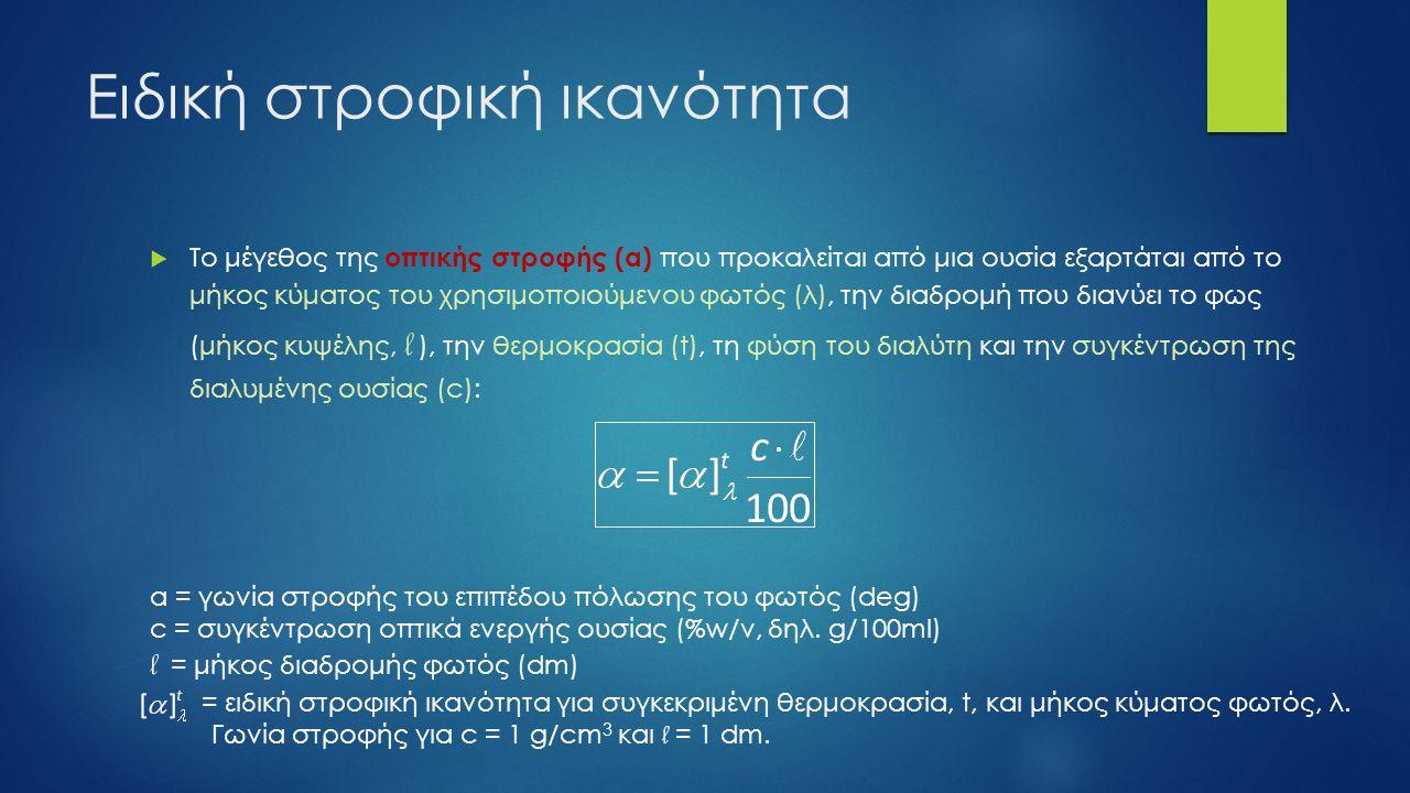 Ειδική στροφική ικανότητα  Ειδική στροφική ικανότητα διαλυμάτων σακχάρων σε νερό στους 20 o C Στροφικά ενεργή ουσία[α] D / deg ˑ dm -1 Καλαμοσάκχαρο +66.412 Γλυκόζη +52.5 Φρουκτόζη -93.78 Ιμβερτοσάκχαρο -19.7 Μαλτόζη +138.5 Λακτόζη +55.3 Δεξτρόζη +194.8 Γαλακτόζη +83.9 Μανόζη +14.1