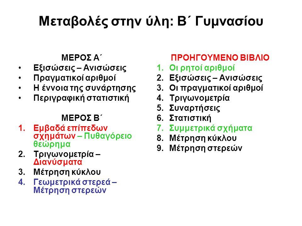 Μεταβολές στην ύλη: Γ΄ Γυμνασίου ΑΛΓΕΒΡΑ 1.Αλγεβρικές παραστάσεις 2.Εξισώσεις – Ανισώσεις 3.Συστήματα γραμμικών εξισώσεων 4.Συναρτήσεις 5.Πιθανότητες ΓΕΩΜΕΤΡΙΑ – ΤΡΙΓΩΝΟΜΕΤΡΙΑ 1.Γεωμετρία 2.Τριγωνομετρία ΠΡΟΗΓΟΥΜΕΝΟ ΒΙΒΛΙΟ 1.Οι πραγματικοί αριθμοί 2.Αλγεβρικές παραστάσεις 3.Εξισώσεις 4.Συναρτήσεις 5.Στατιστική 6.Ισότητα – Ομοιότητα σχημάτων 7.Τριγωνομετρία 8.Συστήματα γραμμικών εξισώσεων και ανισώσεων 9.Διανύσματα 10.Η σφαίρα