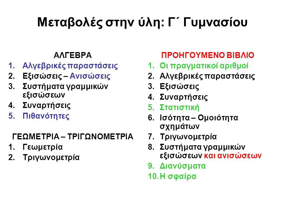 Μεταβολές στην ύλη: Γ΄ Γυμνασίου ΑΛΓΕΒΡΑ 1.Αλγεβρικές παραστάσεις 2.Εξισώσεις – Ανισώσεις 3.Συστήματα γραμμικών εξισώσεων 4.Συναρτήσεις 5.Πιθανότητες