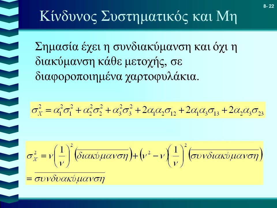 8- 22 Κίνδυνος Συστηματικός και Μη Σημασία έχει η συνδιακύμανση και όχι η διακύμανση κάθε μετοχής, σε διαφοροποιημένα χαρτοφυλάκια.