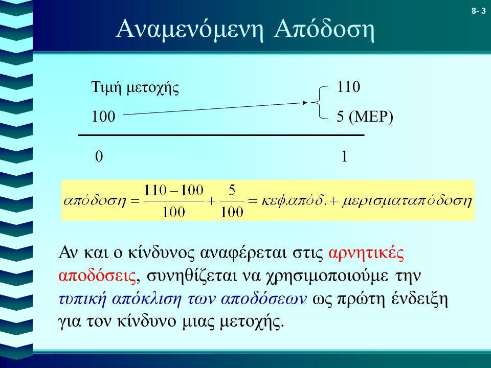 8- 3 Αναμενόμενη Απόδοση 0101 Τιμή μετοχής110 1005 (ΜΕΡ) Αν και ο κίνδυνος αναφέρεται στις αρνητικές αποδόσεις, συνηθίζεται να χρησιμοποιούμε την τυπική απόκλιση των αποδόσεων ως πρώτη ένδειξη για τον κίνδυνο μιας μετοχής.