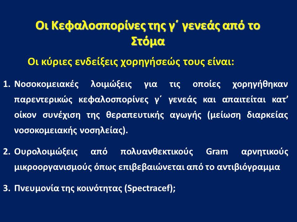 Οι Κεφαλοσπορίνες της γ΄ γενεάς από το Στόμα Οι κύριες ενδείξεις χορηγήσεώς τους είναι: 1.Νοσοκομειακές λοιμώξεις για τις οποίες χορηγήθηκαν παρεντερι