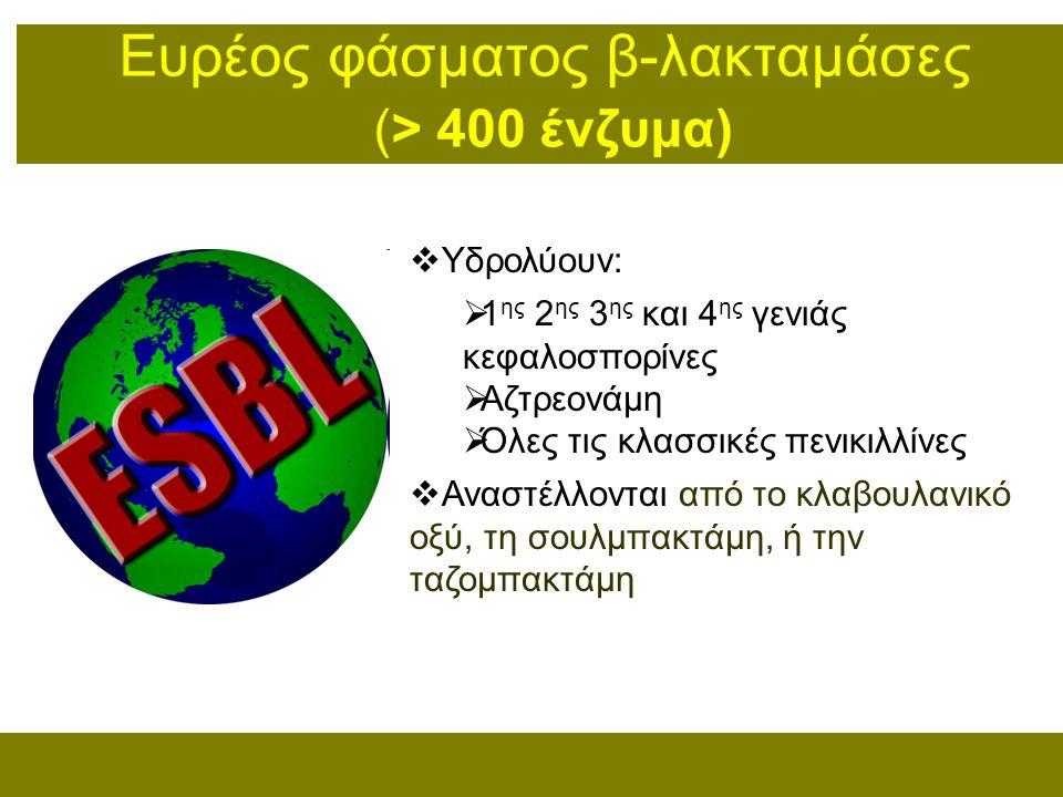 Ευρέoς φάσματος β-λακταμάσες (> 400 ένζυμα)  Υδρολύουν:  1 ης 2 ης 3 ης και 4 ης γενιάς κεφαλοσπορίνες  Αζτρεονάμη  Όλες τις κλασσικές πενικιλλίνε