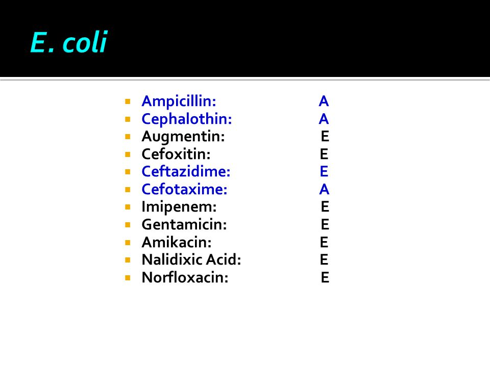  Αmpicillin: A  Cephalothin: A  Augmentin: E  Cefoxitin: E  Ceftazidime: Ε  Cefotaxime: A  Imipenem: E  Gentamicin: E  Amikacin: E  Nalidixi