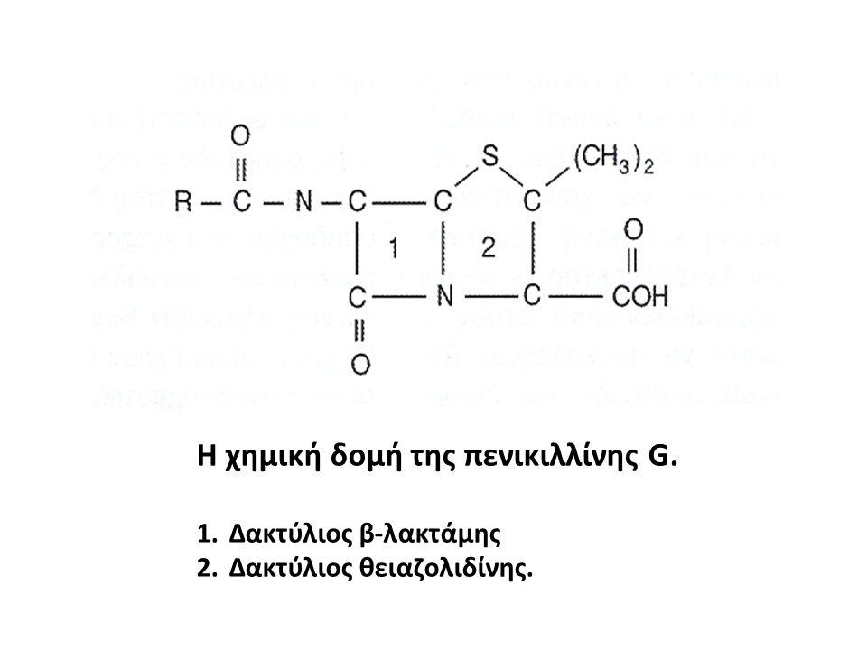 Η χημική δομή της πενικιλλίνης G. 1.Δακτύλιος β-λακτάμης 2.Δακτύλιος θειαζολιδίνης.