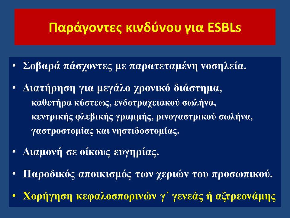 Παράγοντες κινδύνου για ESBLs Σοβαρά πάσχοντες με παρατεταμένη νοσηλεία. Διατήρηση για μεγάλο χρονικό διάστημα, καθετήρα κύστεως, ενδοτραχειακού σωλήν