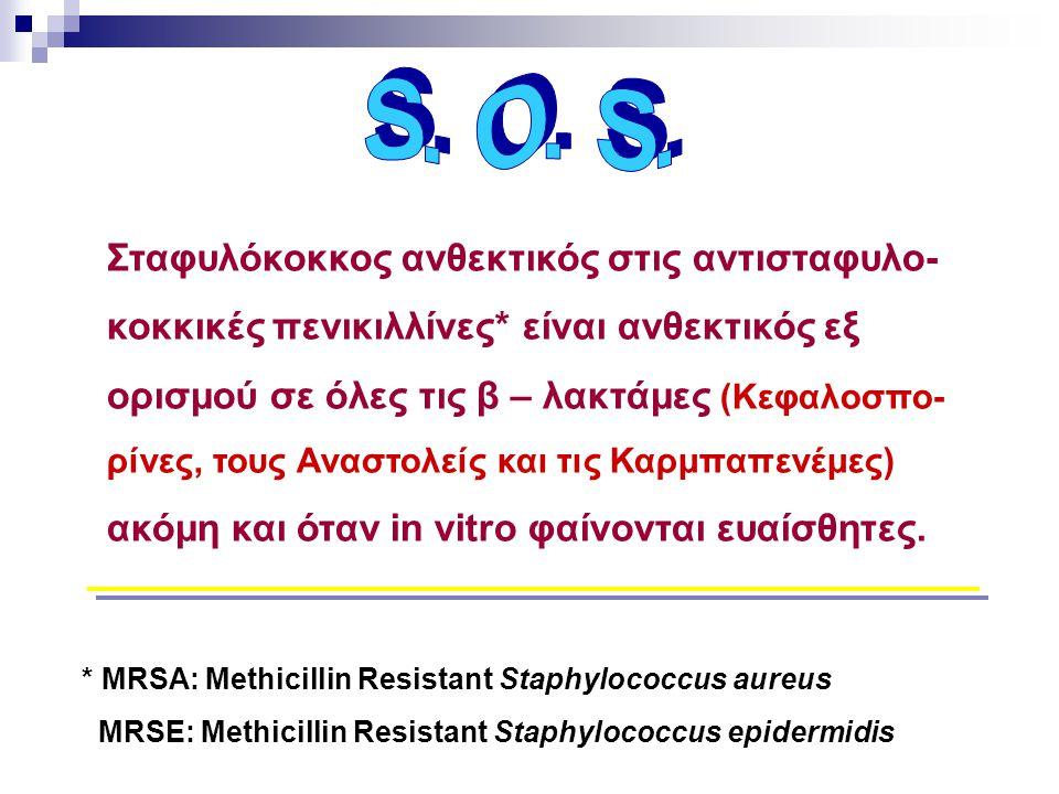Σταφυλόκοκκος ανθεκτικός στις αντισταφυλο- κοκκικές πενικιλλίνες* είναι ανθεκτικός εξ ορισμού σε όλες τις β – λακτάμες (Κεφαλοσπο- ρίνες, τους Αναστολ