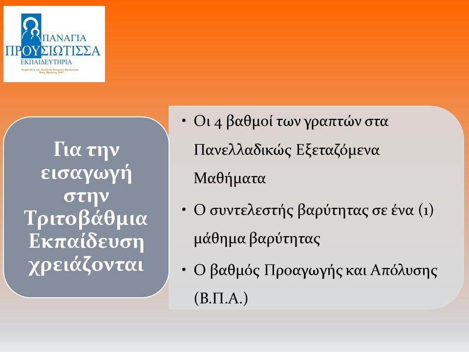 Οι 4 βαθμοί των γραπτών στα Πανελλαδικώς Εξεταζόμενα Μαθήματα Ο συντελεστής βαρύτητας σε ένα (1) μάθημα βαρύτητας Ο βαθμός Προαγωγής και Απόλυσης (Β.Π.Α.) Για την εισαγωγή στην Τριτοβάθμια Εκπαίδευση χρειάζονται