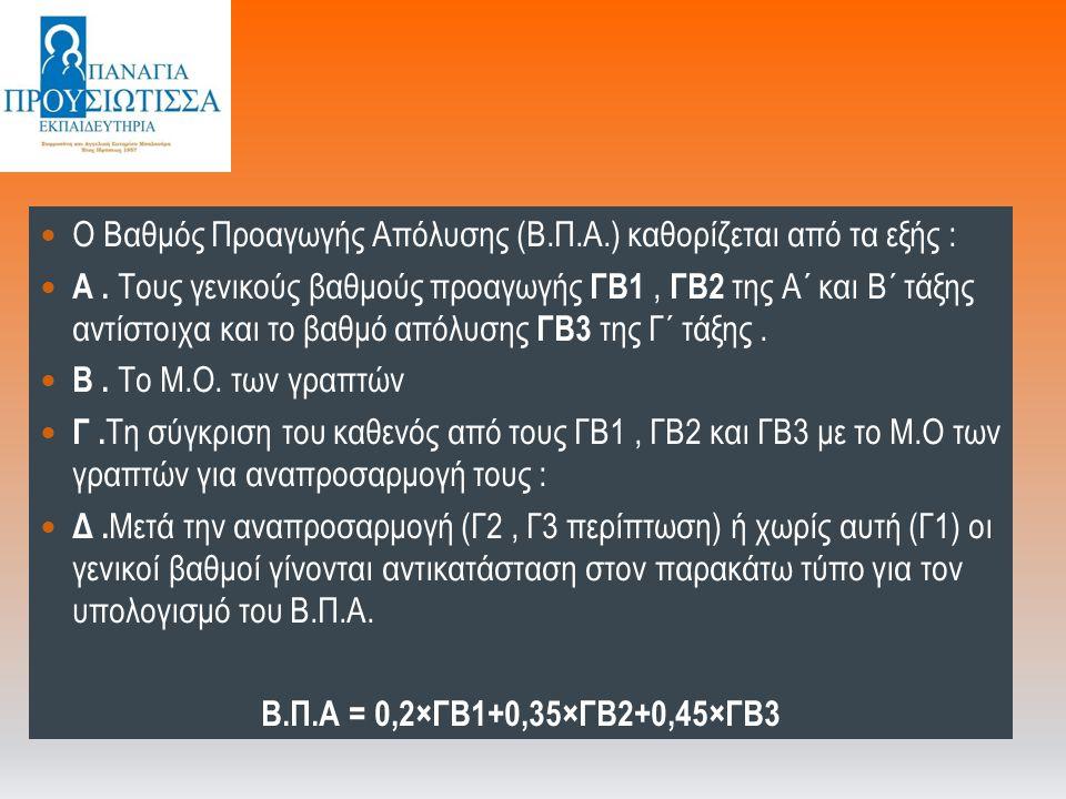 Ο Βαθμός Προαγωγής Απόλυσης (Β.Π.Α.) καθορίζεται από τα εξής : Α. Τους γενικούς βαθμούς προαγωγής ΓΒ1, ΓΒ2 της Α΄ και Β΄ τάξης αντίστοιχα και το βαθμό