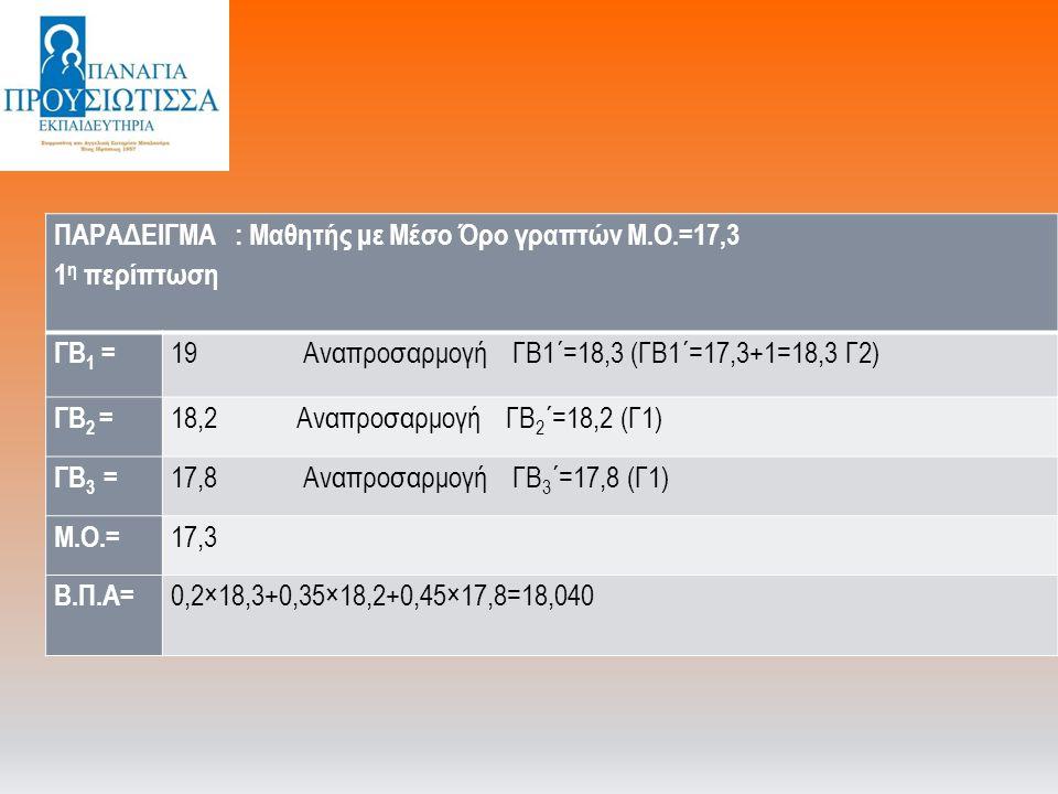 ΠΑΡΑΔΕΙΓΜΑ : Μαθητής με Μέσο Όρο γραπτών Μ.Ο.=17,3 1 η περίπτωση ΓΒ 1 = 19 Αναπροσαρμογή ΓΒ1΄=18,3 (ΓΒ1΄=17,3+1=18,3 Γ2) ΓΒ 2 = 18,2 Αναπροσαρμογή ΓΒ