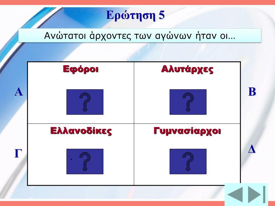 Ρόδιος Λεωνίδας Ήλειος Κόριβος Σπαρτιάτης Ιπποσθένης Ηρόδωρος από τα Μέγαρα Α Γ Β Δ Ερώτηση 4 Πρώτος Ολυμπιονίκης αναφέρεται το 776 π.Χ.