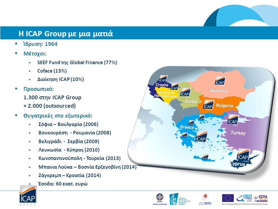 Η ICAP Group με μια ματιά  Ίδρυση: 1964  Μέτοχοι:  SEEF Fund της Global Finance (77%)  Coface (13%)  Διοίκηση ICAP (10%)  Προσωπικό: 1.300 στην ICAP Group + 2.000 (outsourced)  Θυγατρικές στο εξωτερικό:  Σόφια – Βουλγαρία (2006)  Βουκουρέστι - Ρουμανία (2008)  Βελιγράδι - Σερβία (2009)  Λευκωσία - Κύπρος (2010)  Κωνσταντινούπολη - Τουρκία (2013)  Μπανια Λούκα – Βοσνία Ερζεγοβίνη (2014)  Ζάγκρεμπ – Κροατία (2014)  Έσοδα: 60 εκατ.