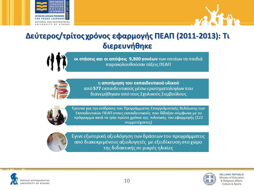 Δεύτερος/τρίτος χρόνος εφαρμογής ΠΕΑΠ (2011-2013): Τι διερευνήθηκε οι στάσεις και οι απόψεις 9,800 γονέων των οποίων τα παιδιά παρακολουθούσαν τάξεις