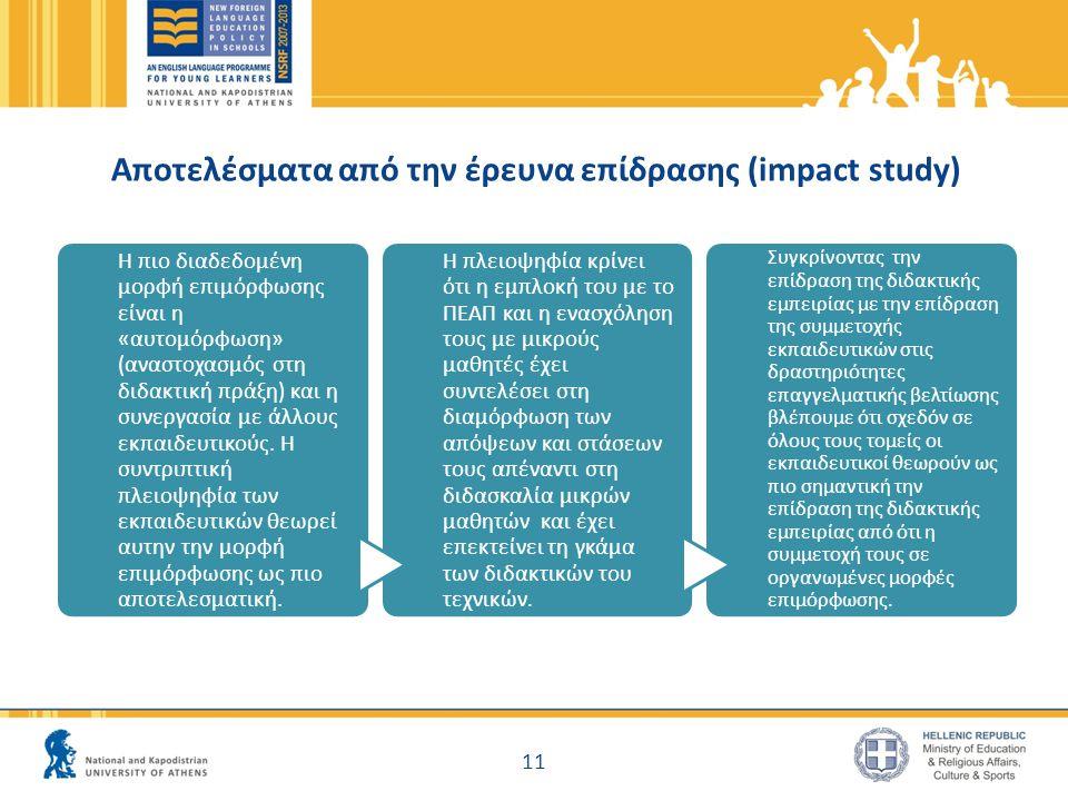 Αποτελέσματα από την έρευνα επίδρασης (impact study) Η πιο διαδεδομένη μορφή επιμόρφωσης είναι η «αυτομόρφωση» (αναστοχασμός στη διδακτική πράξη) και