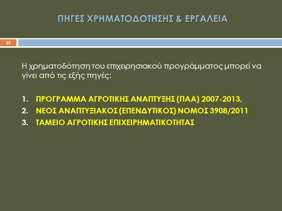 ΠΗΓΕΣ ΧΡΗΜΑΤΟΔΟΤΗΣΗΣ & ΕΡΓΑΛΕΙΑ 15 Η χρηματοδότηση του επιχειρησιακού προγράμματος μπορεί να γίνει από τις εξής πηγές: 1.ΠΡΟΓΡΑΜΜΑ ΑΓΡΟΤΙΚΗΣ ΑΝΑΠΤΥΞΗΣ (ΠΑΑ) 2007-2013, 2.ΝΕΟΣ ΑΝΑΠΤΥΞΙΑΚΟΣ (ΕΠΕΝΔΥΤΙΚΟΣ) ΝΟΜΟΣ 3908/2011 3.ΤΑΜΕΙΟ ΑΓΡΟΤΙΚΗΣ ΕΠΙΧΕΙΡΗΜΑΤΙΚΟΤΗΤΑΣ