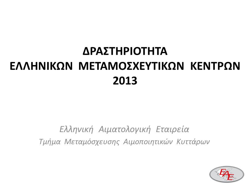 ΔΡΑΣΤΗΡΙΟΤΗΤΑ ΕΛΛΗΝΙΚΩΝ ΜΕΤΑΜΟΣΧΕΥΤΙΚΩΝ ΚΕΝΤΡΩΝ 2013 Ελληνική Αιματολογική Εταιρεία Τμήμα Μεταμόσχευσης Αιμοποιητικών Κυττάρων